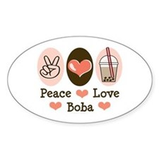 Peace Love Boba Bubble Tea Oval Decal