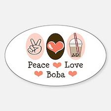 Peace Love Boba Bubble Tea Oval Decal