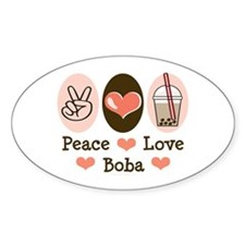 Peace Love Boba Bubble Tea Oval Sticker (10 pk)