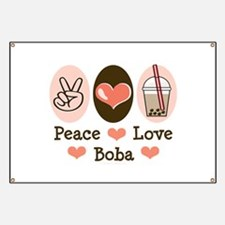 Peace Love Boba Bubble Tea Banner