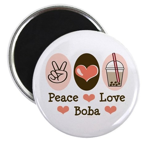 Peace Love Boba Bubble Tea Magnet