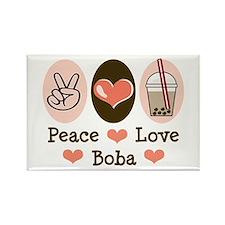 Peace Love Boba Bubble Tea Rectangle Magnet