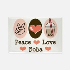 Peace Love Boba Bubble Tea Rectangle Magnet