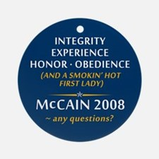 McCain & A Smokin' Hot 1st Lady Ornament (Round)