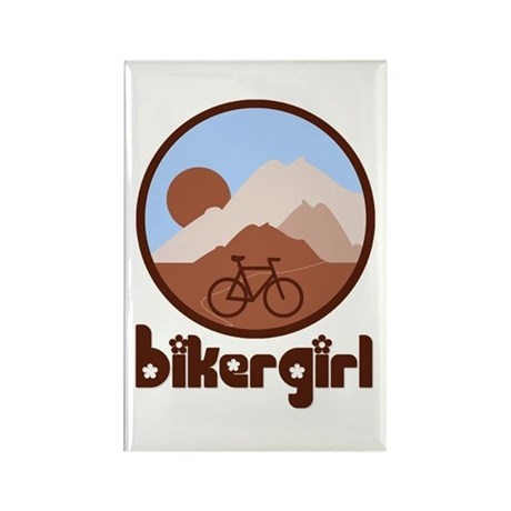 BikerGirl Blue Sky Vertical Rectangle Magnet (100