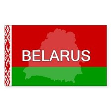Belarus Flag + Rectangle Sticker 50 pk)