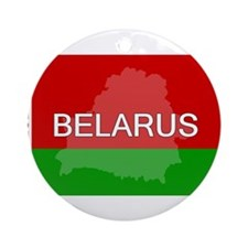 Belarus Flag + Ornament (Round)