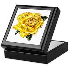 Painted Yellow Rose Keepsake Box