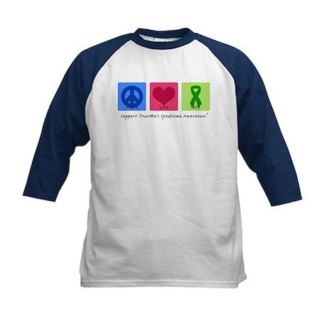 Peace Love Cure Tourette Kids Baseball Jersey