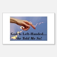 God Is Left-Handed Rectangle Decal