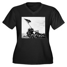 Iwo Jima Women's Plus Size V-Neck Dark T-Shirt
