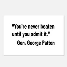 Patton Never Beaten Quote Postcards (Package of 8)
