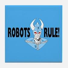 Blue Robots Rule Tile Coaster