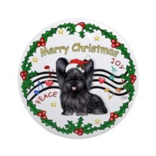Cute Skye terrier design Ornament (Round)