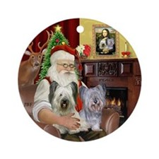 Santa's two Skye Terriers Ornament (Round)