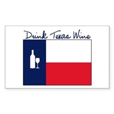 Drink Texas Wine Rectangle Decal