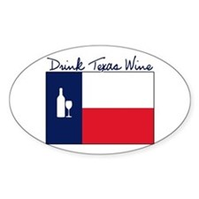 Drink Texas Wine Oval Decal