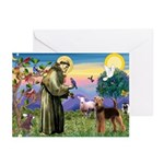 Saint Francis & Airedale Greeting Cards (Pk of 10)