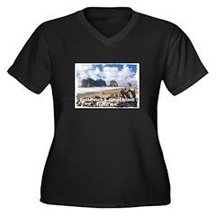 Forks, WA. 1 Women's Plus Size V-Neck Dark T-Shirt