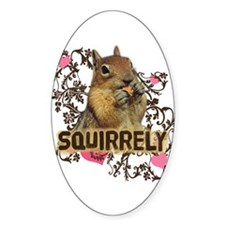 Squirrely Squirrel Lover Oval Decal