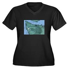 Forks, WA. 2 Women's Plus Size V-Neck Dark T-Shirt