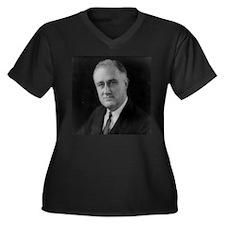 Franklin Roosevelt Women's Plus Size V-Neck Dark T