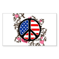 American Flag Peace Sign Rectangle Sticker 50 pk)