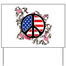 American Flag Peace Sign Yard Sign