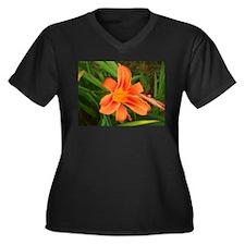 Lilly Women's Plus Size V-Neck Dark T-Shirt