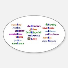 Liberal Moral Values Oval Decal