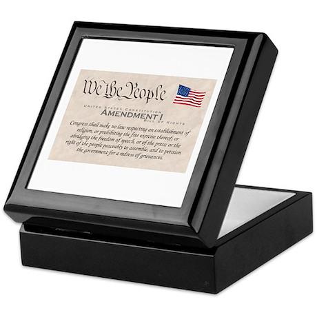 Amendment I w/Flag Keepsake Box