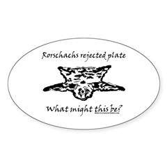Rorschachs Rejected Plate 4 Oval Sticker (50 pk)