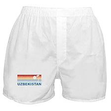 Retro Palm Tree Uzbekistan Boxer Shorts
