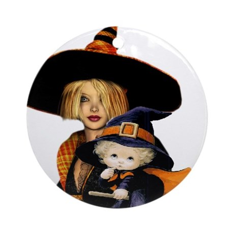 Mother and Child Witch Ornament (Round)