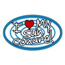 Hypno I Love My Sun Conure Oval Sticker Blue