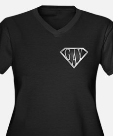 SuperGay(Metal) Women's Plus Size V-Neck Dark T-Sh