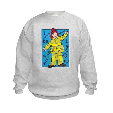 I want to be a Fireman Kids Sweatshirt