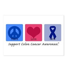 Peace Love Colon Cancer Postcards (Package of 8)