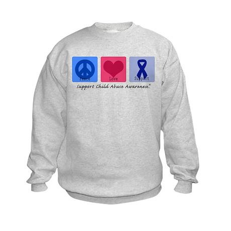 Peace Love Child Abuse Kids Sweatshirt