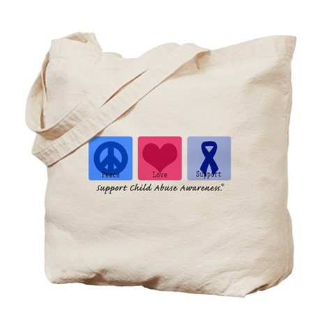 Peace Love Child Abuse Tote Bag