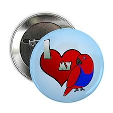I Love My Solomon Island Eclectus Button (Hen)