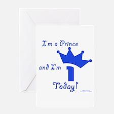1st Birthday Prince Greeting Card