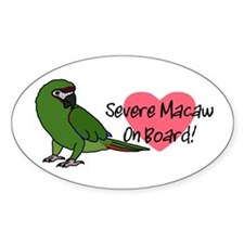 Severe Macaw On Board Oval Decal