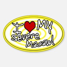 Hypno I Love My Severe Macaw Oval Sticker Yellow
