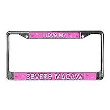 Pink Polka Dot Severe Macaw License Plate Frame