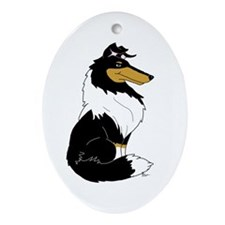 Rough Tricolor Collie Oval Ornament