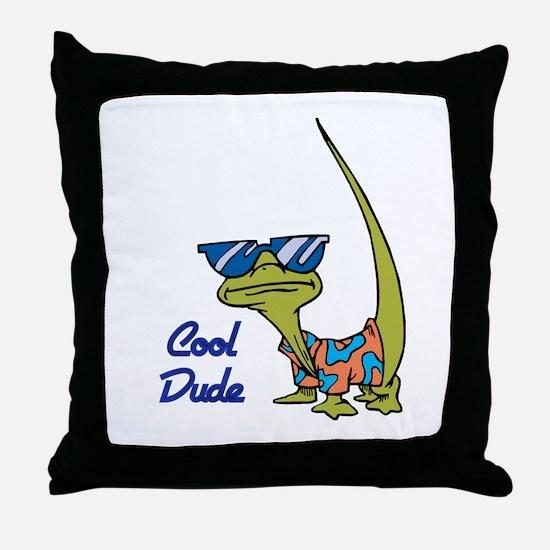 Cool Dude Lizard Throw Pillow