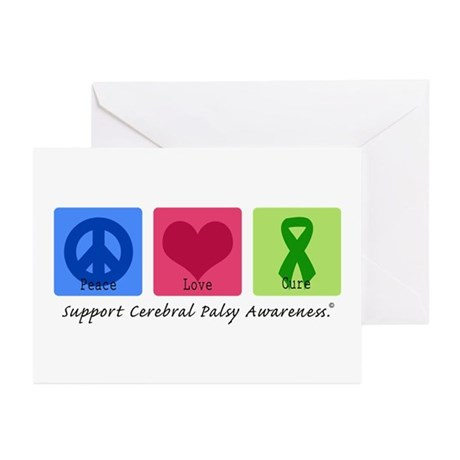 Peace Love Cure CP Greeting Cards (Pk of 10)