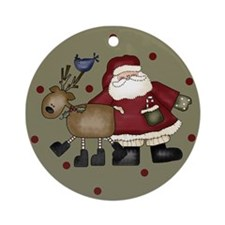 Santa and Reindeer Christmas Ornament (Round)