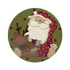 Santa and Deer Christmas Ornament (Round)